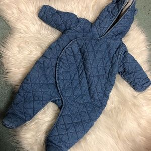 Baby Gap chambray quilted bunting suit 3-6 mo